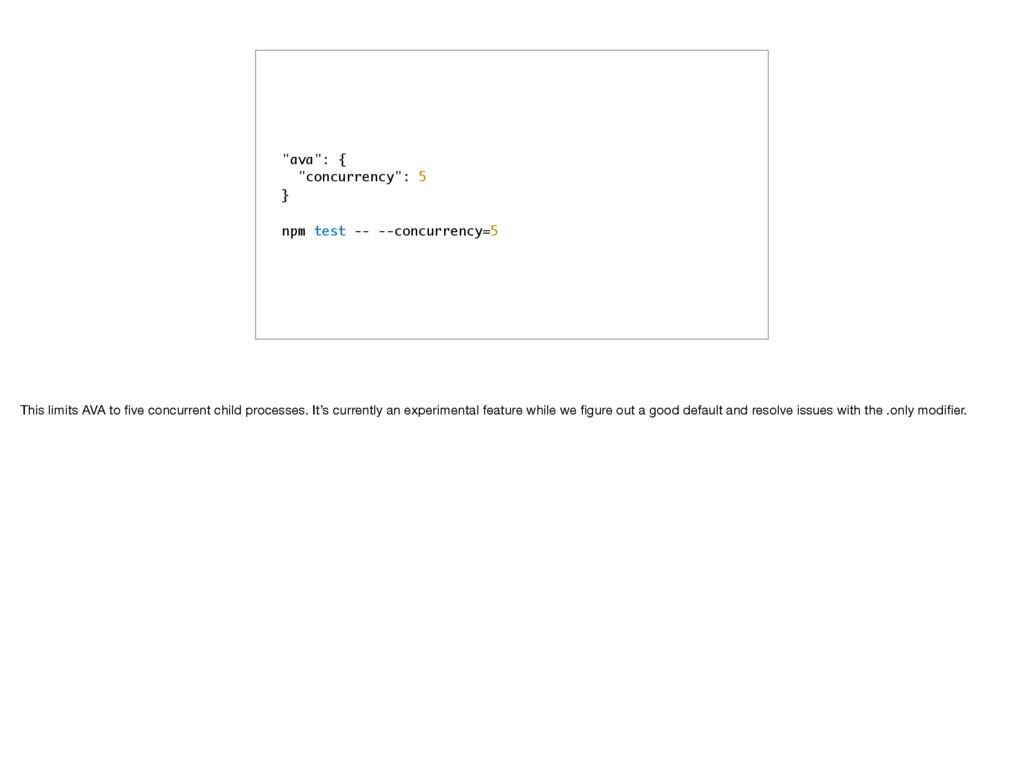 """ava"": { ""concurrency"": 5 } npm test -- --concu..."