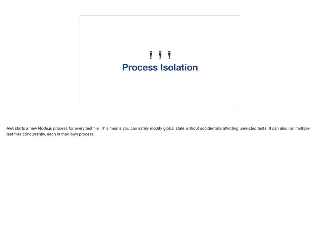 Process Isolation AVA starts a new Node.js pro...