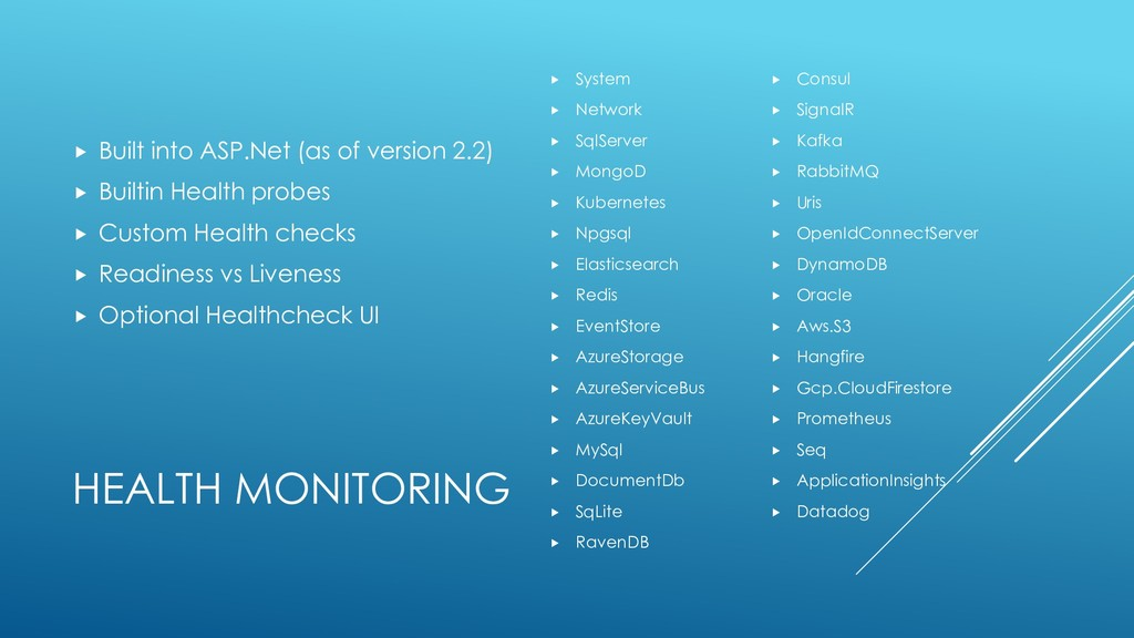 HEALTH MONITORING  Built into ASP.Net (as of v...