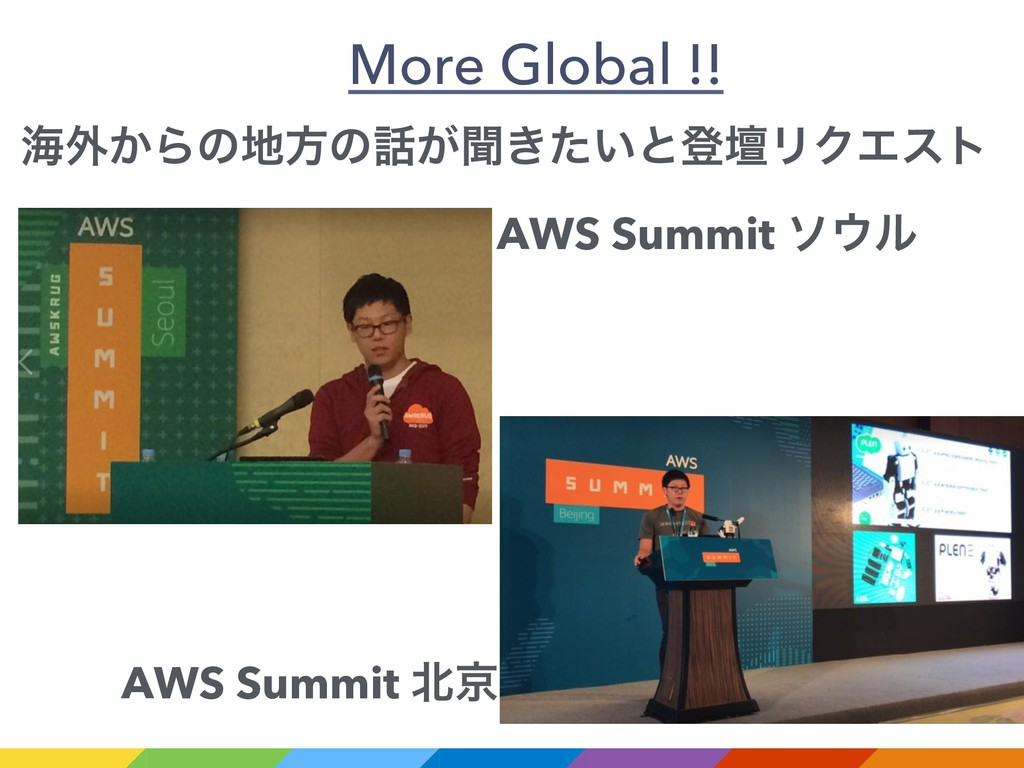 More Global !! ւ֎͔Βͷํͷ͕ฉ͖͍ͨͱొஃϦΫΤετ AWS Summi...