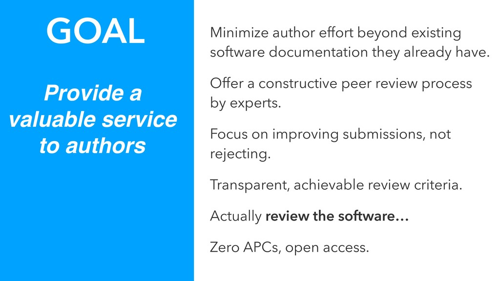 Provide a valuable service to authors GOAL Mini...