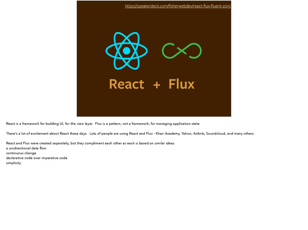 React https://speakerdeck.com/fisherwebdev/react...