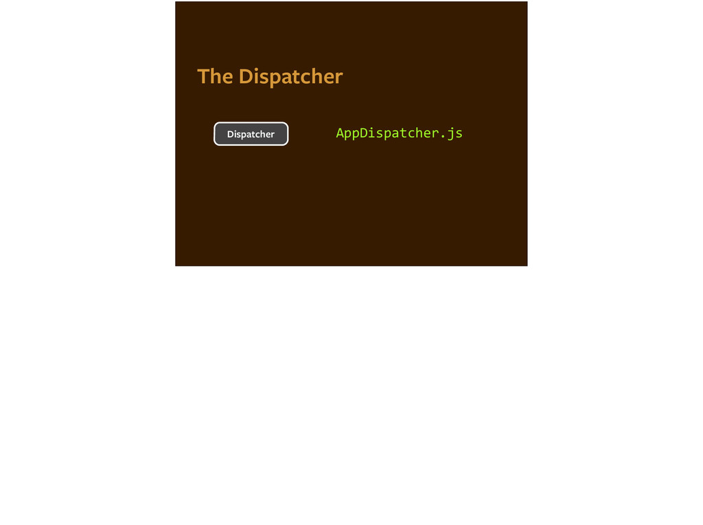 AppDispatcher.js Dispatcher The Dispatcher
