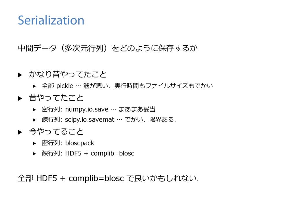 Serialization 中間データ(多次元⾏列)をどのように保存するか ▶ かなり昔やっ...