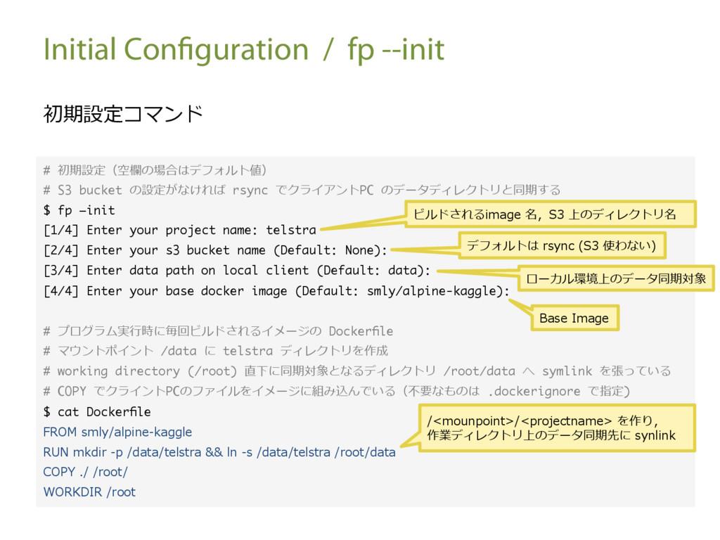 Initial Configuration / fp --init 初期設定コマンド # 初期...
