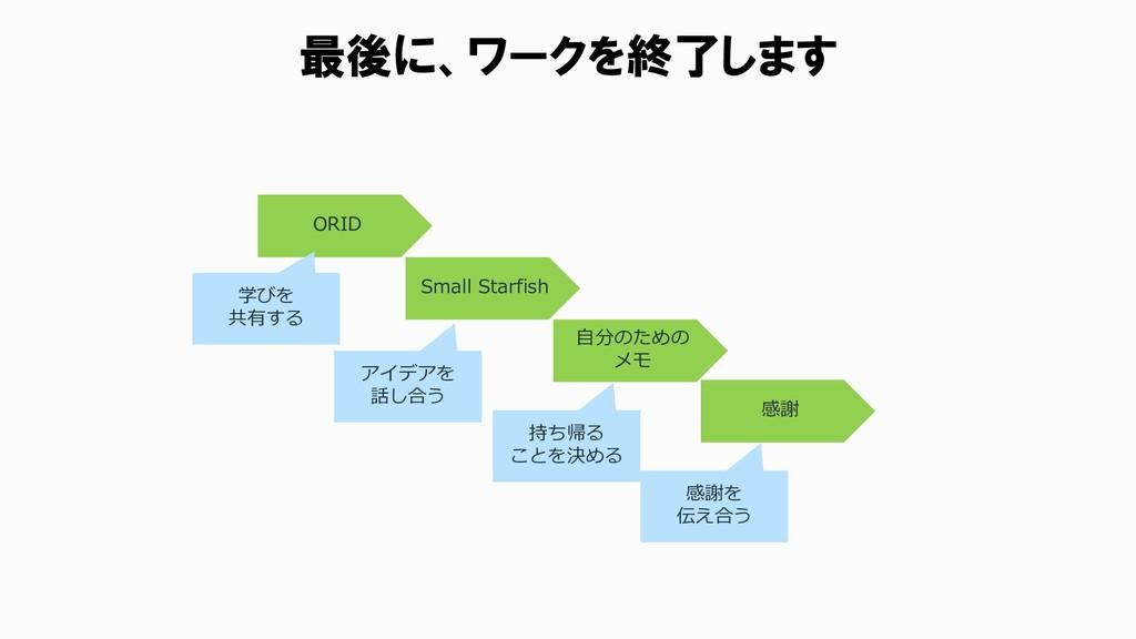 最後に、ワークを終了します ORID Small Starfish 自分のための メモ 学びを...