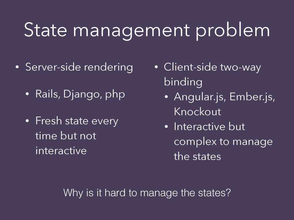 State management problem • Server-side renderin...