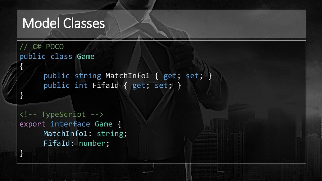 Model Classes // C# POCO public class Game { pu...