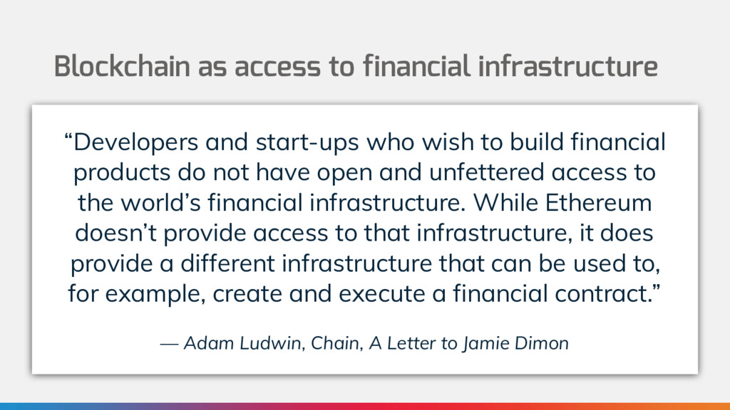 Blockchain as access to financial infrastructur...
