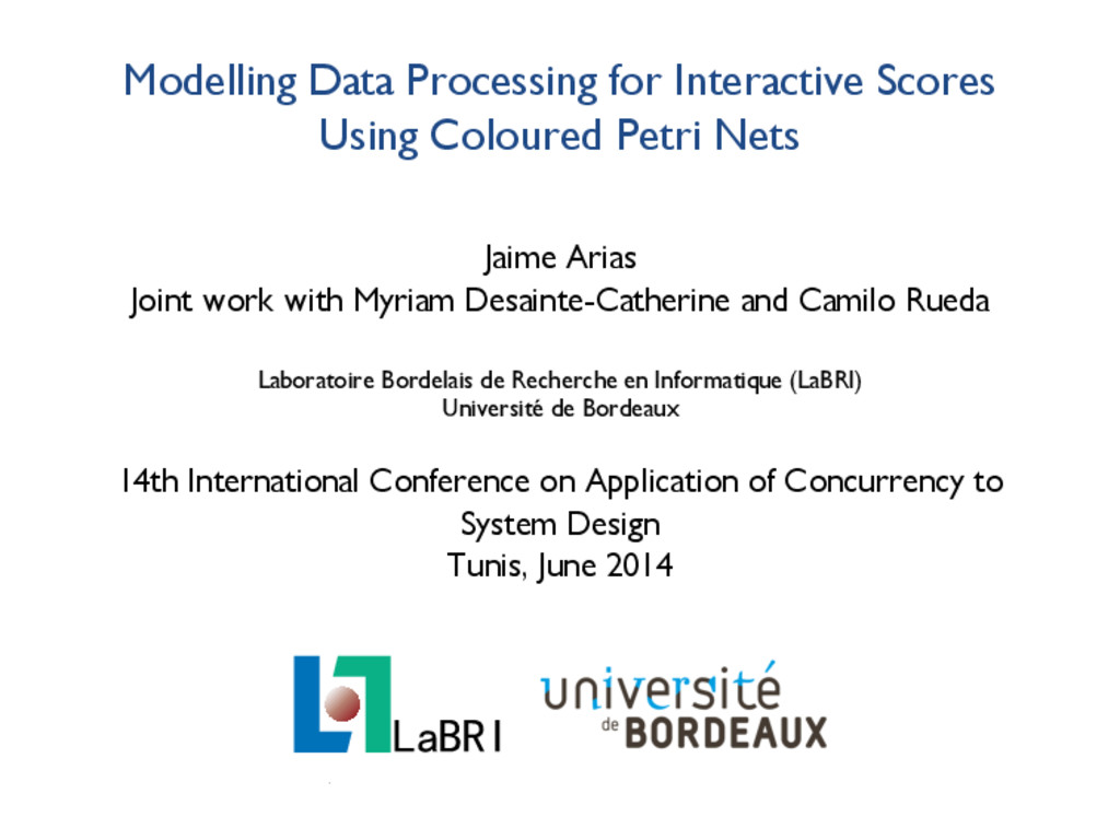 Modelling Data Processing for Interactive Score...