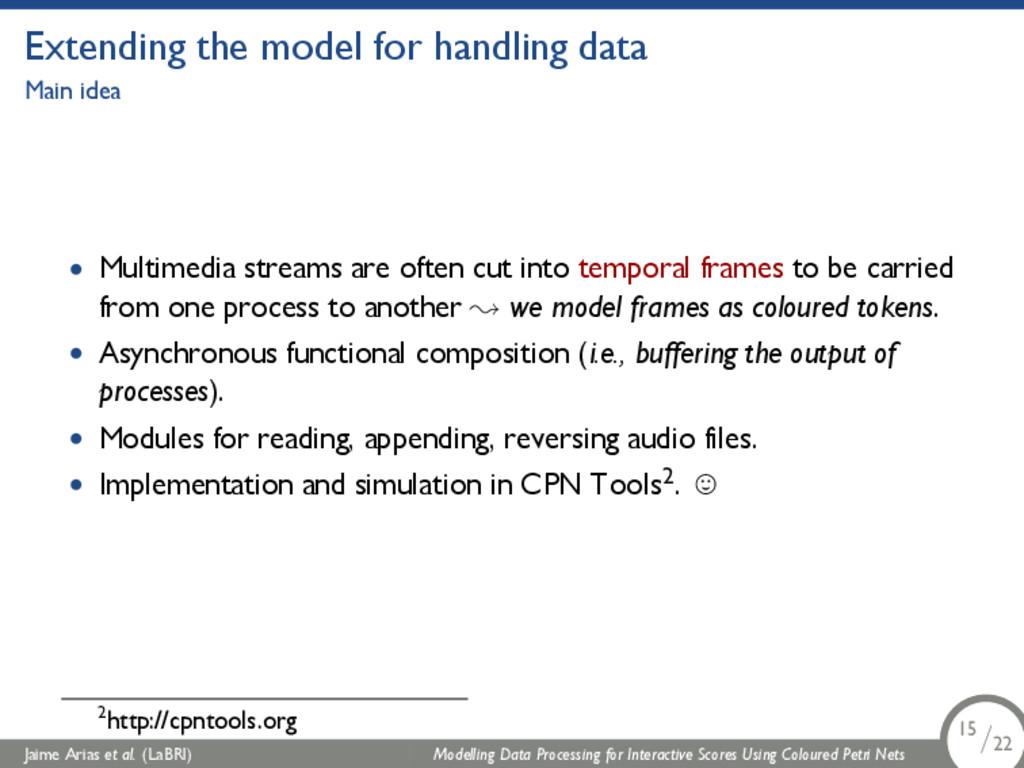 Extending the model for handling data Main idea...