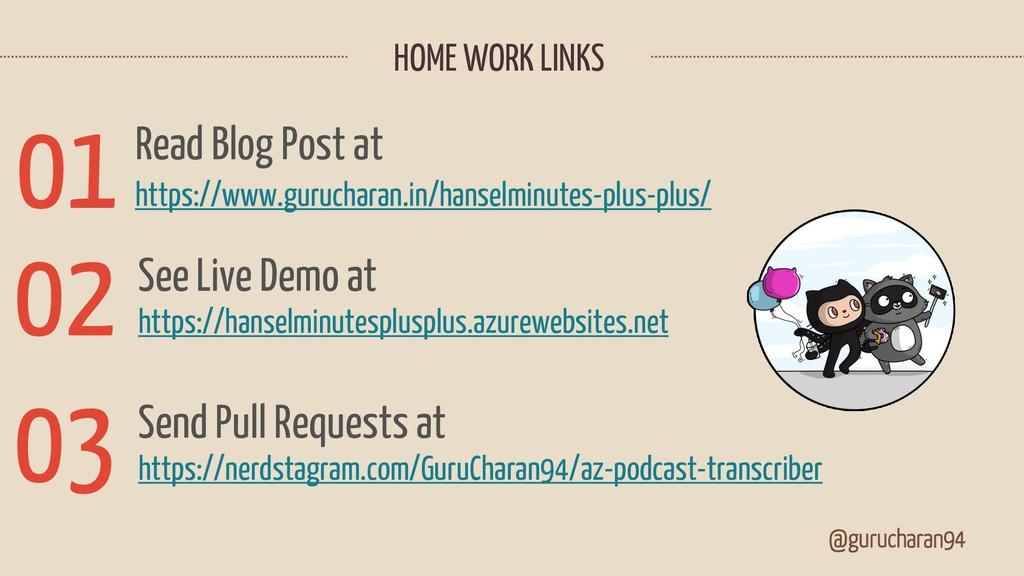 HOME WORK LINKS @gurucharan94 https://nerdstagr...