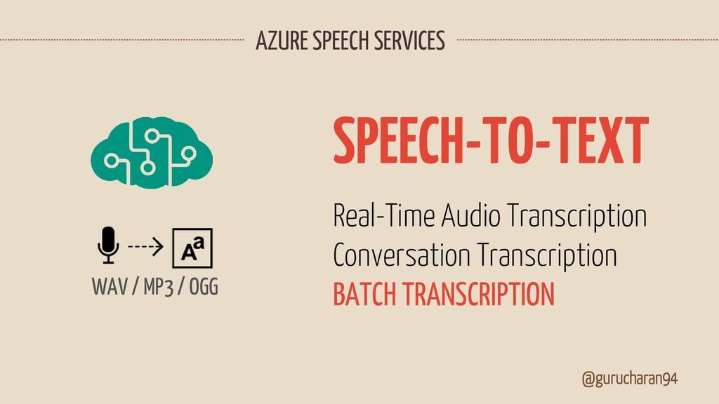 AZURE SPEECH SERVICES @gurucharan94 Real-Time A...