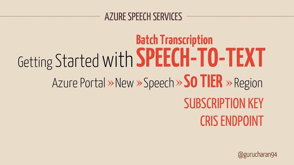 AZURE SPEECH SERVICES @gurucharan94 SPEECH-TO-T...