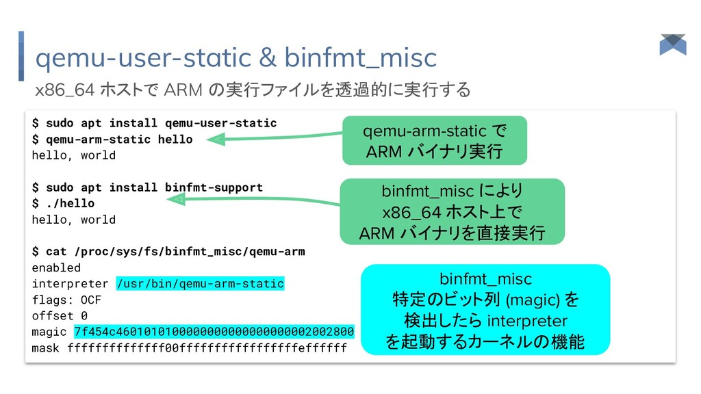 qemu-user-static & binfmt_misc $ sudo apt insta...