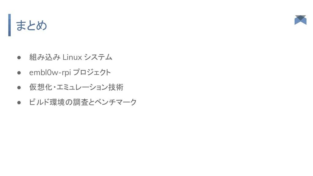 まとめ ● 組み込み Linux システム ● embl0w-rpi プロジェクト ● 仮想化...