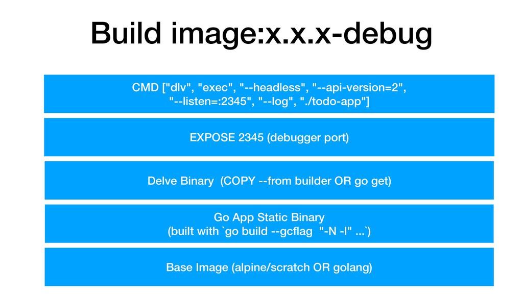 Build image:x.x.x-debug Go App Static Binary (b...