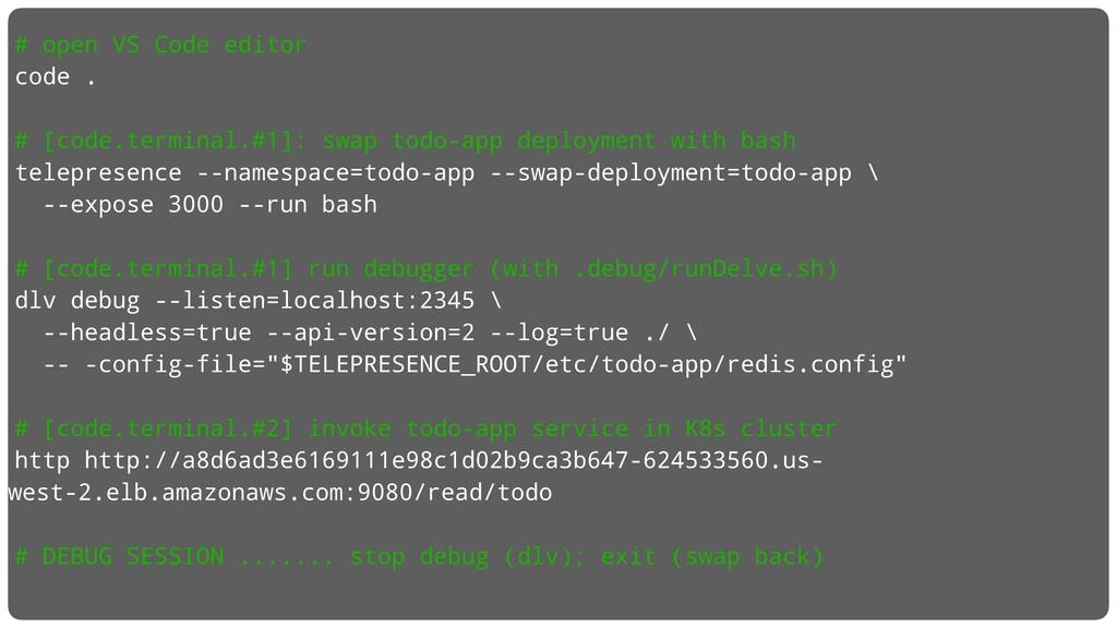 # open VS Code editor code . # [code.terminal.#...