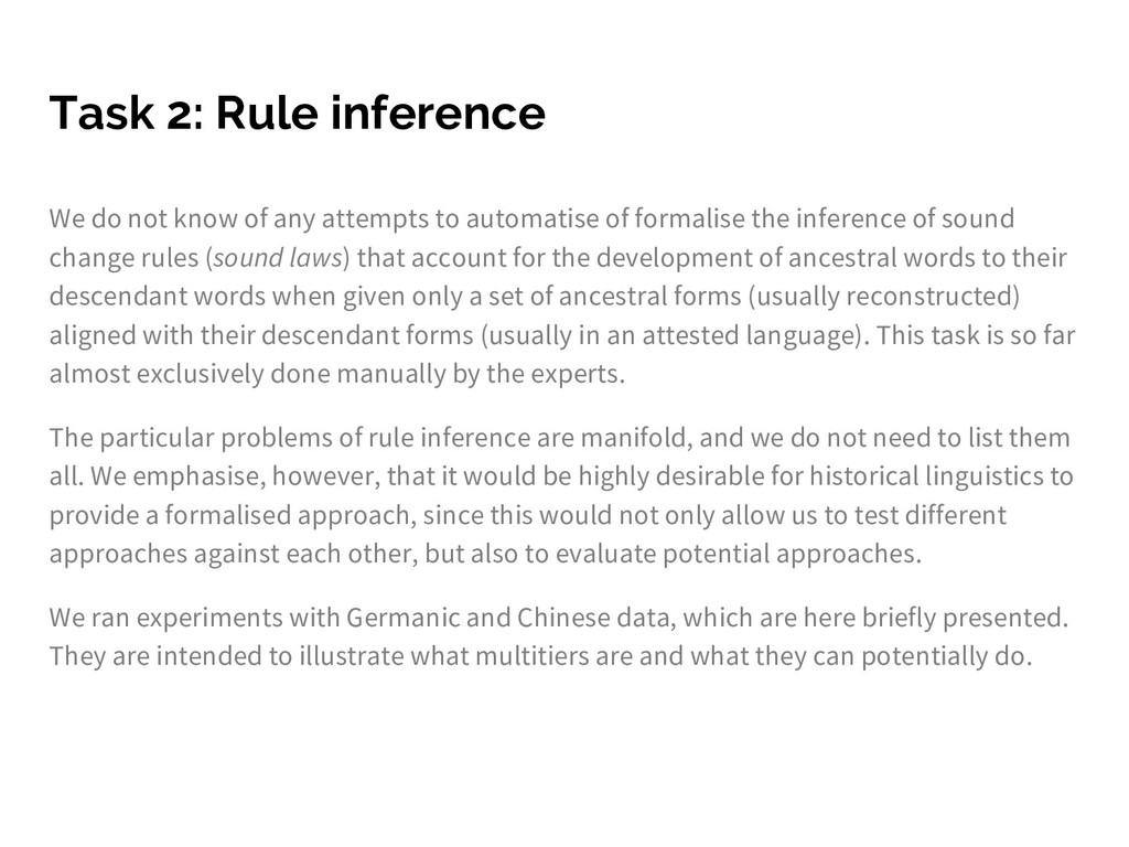 Task 2: Rule inference We do not know of any at...