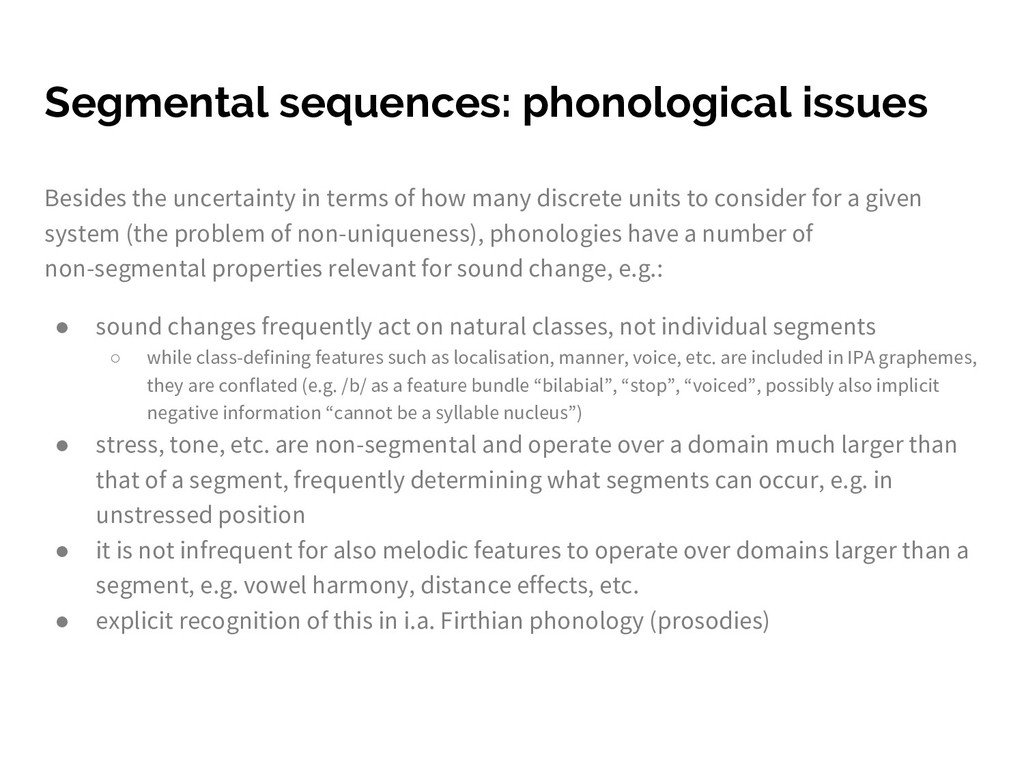 Segmental sequences: phonological issues Beside...