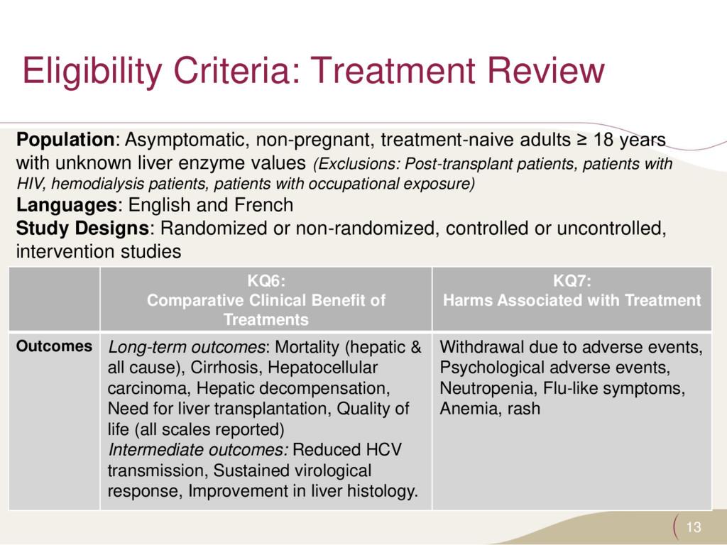 Eligibility Criteria: Treatment Review 13 KQ6: ...