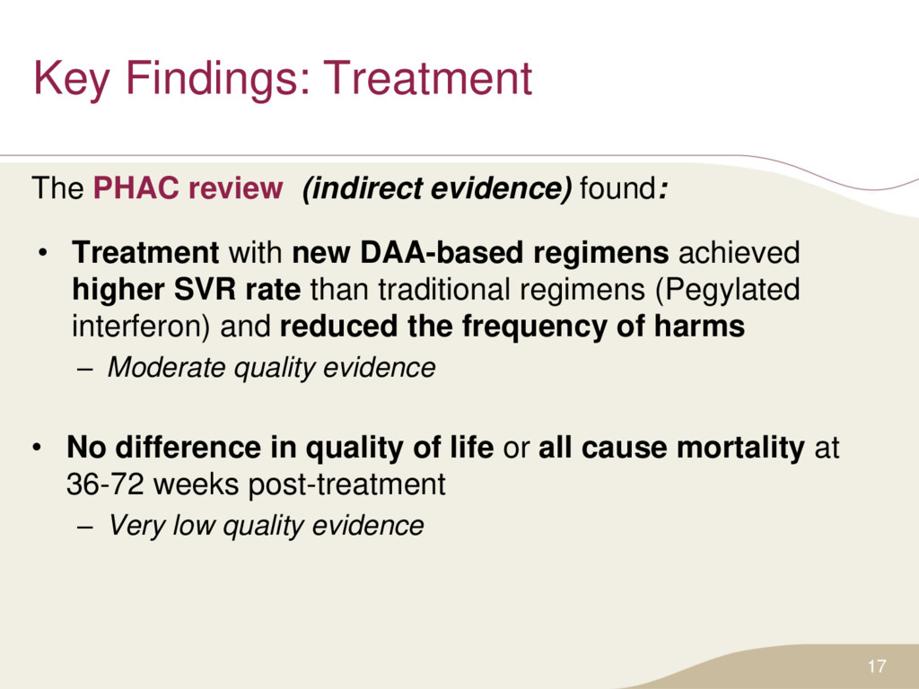 Key Findings: Treatment The PHAC review (indire...