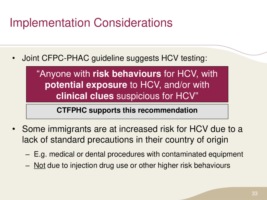 Implementation Considerations • Joint CFPC-PHAC...