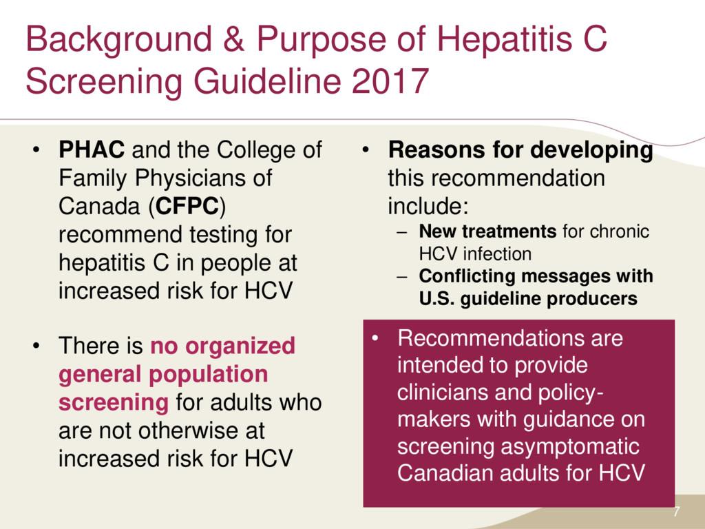 Background & Purpose of Hepatitis C Screening G...