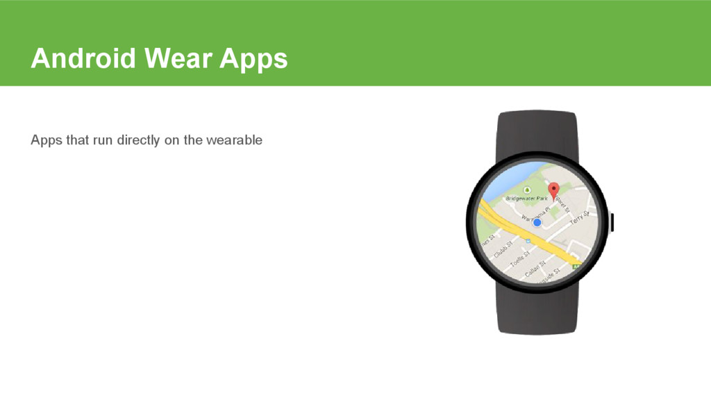 Android Wear Apps Apps that run directly on the...
