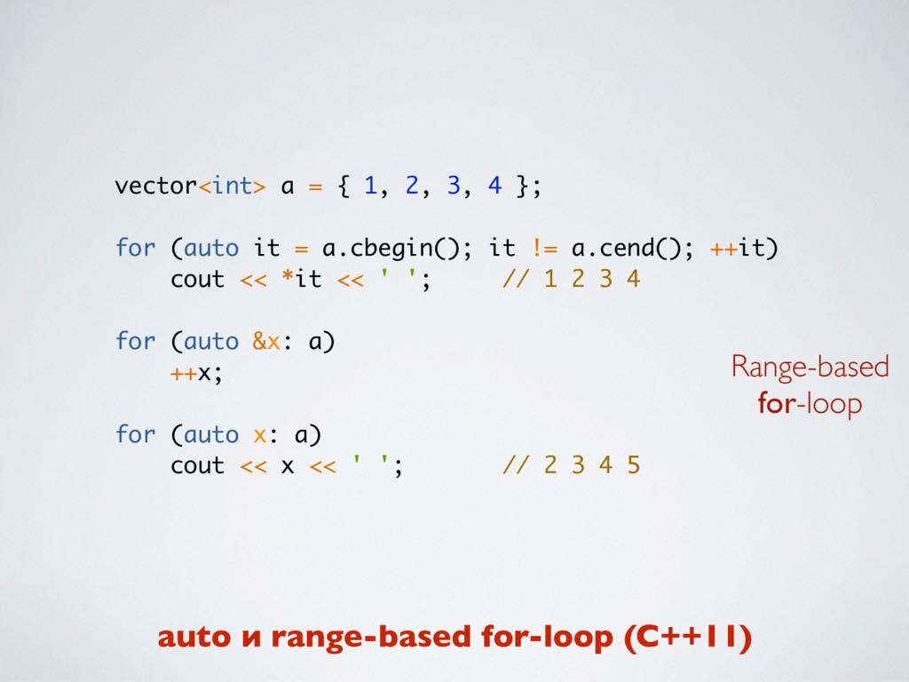 vector<int> a = { 1, 2, 3, 4 }; for (auto it = ...