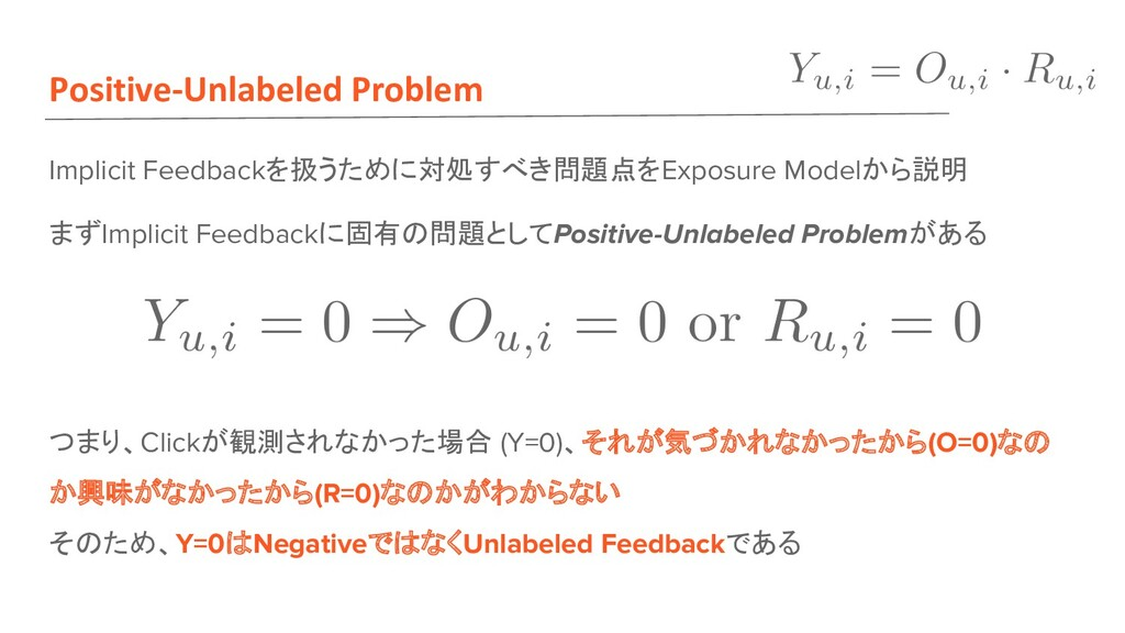 Positive-Unlabeled Problem Implicit Feedbackを扱う...