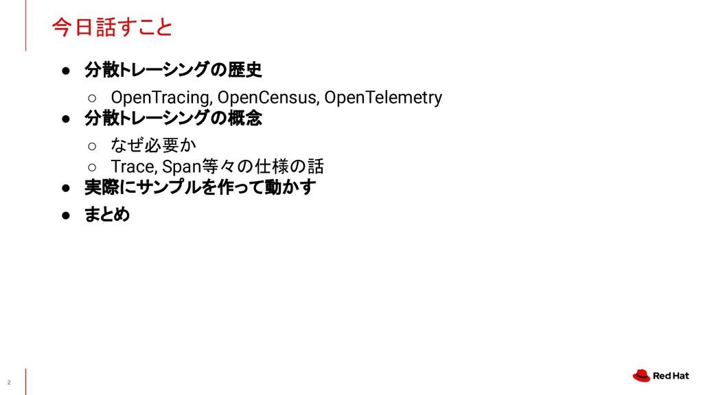 ● 分散トレーシングの歴史 ○ OpenTracing, OpenCensus, OpenTe...