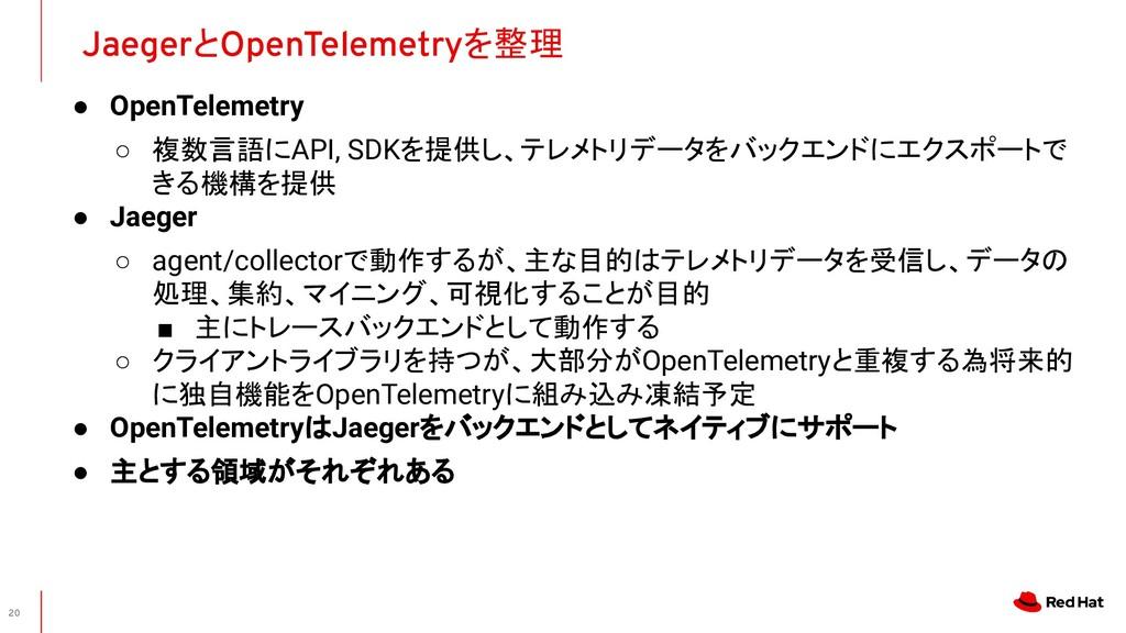 ● OpenTelemetry ○ 複数言語にAPI, SDKを提供し、テレメトリデータをバッ...