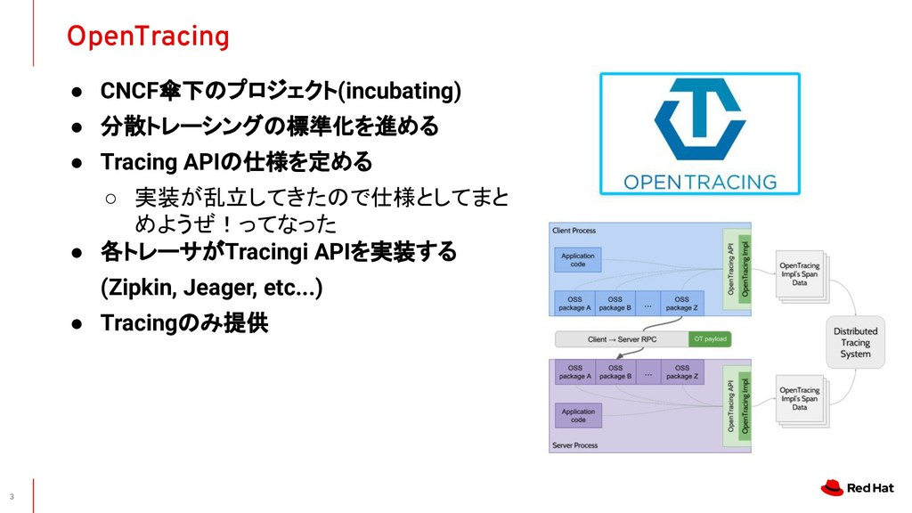 ● CNCF傘下のプロジェクト(incubating) ● 分散トレーシングの標準化を進める ...