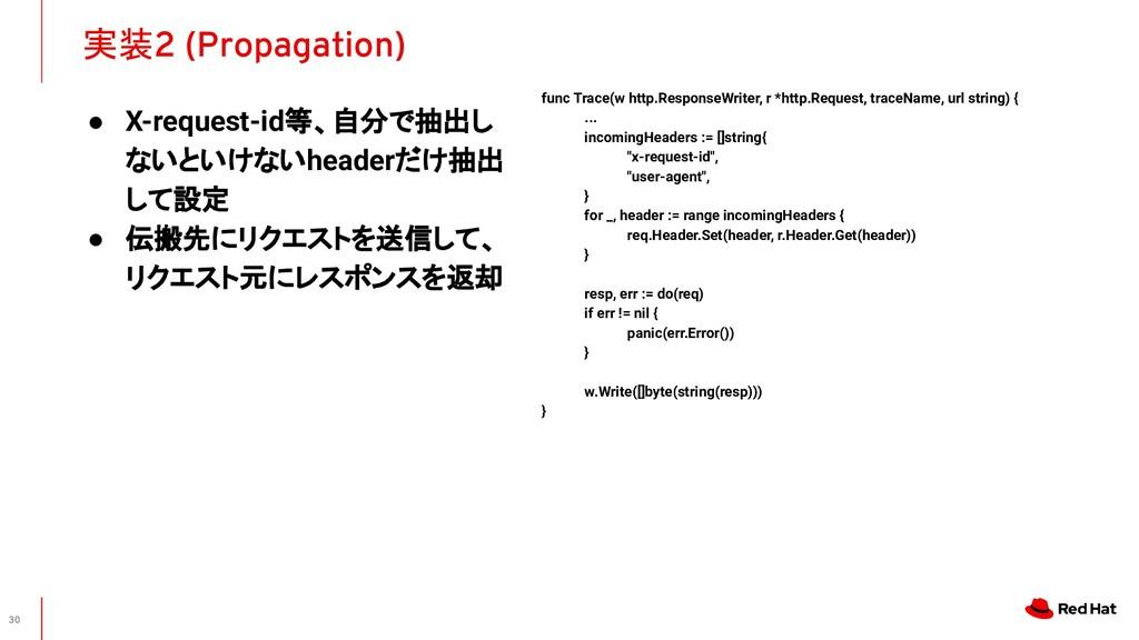実装2 (Propagation) 30 func Trace(w http.Response...