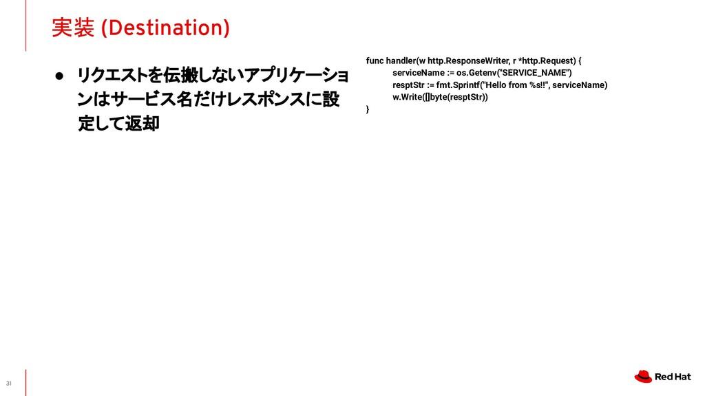 実装 (Destination) 31 func handler(w http.Respons...