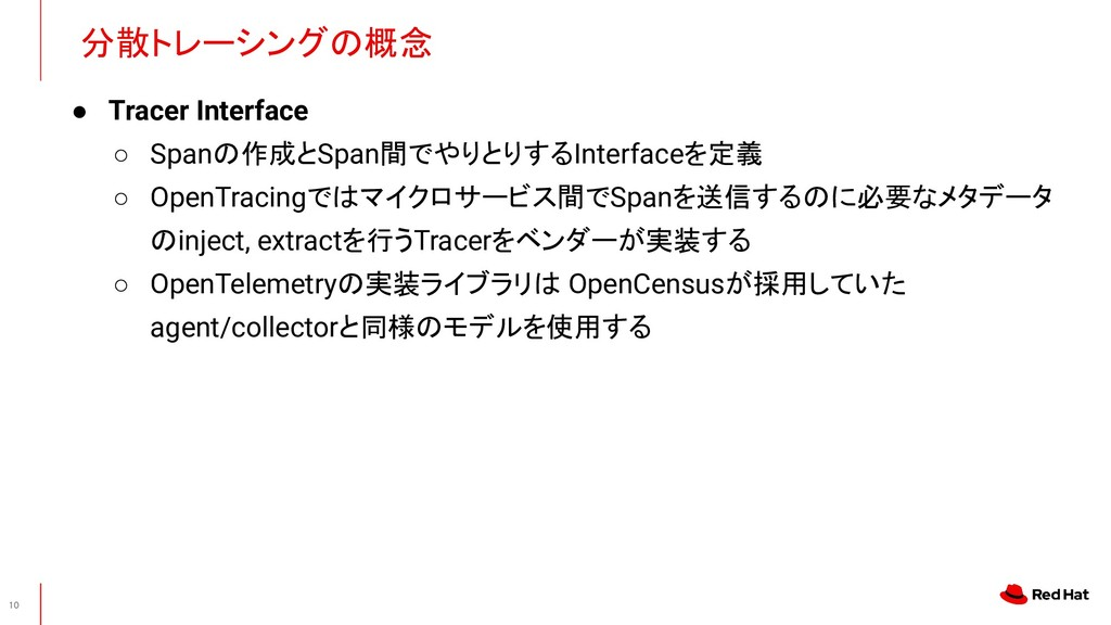 ● Tracer Interface ○ Spanの作成とSpan間でやりとりするInterf...