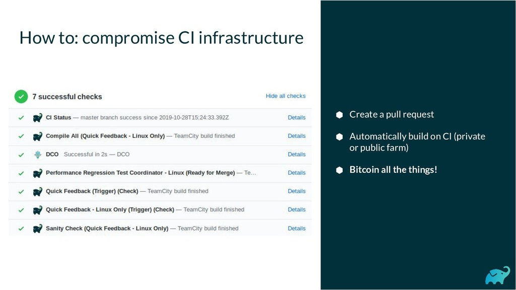 How to: compromise CI infrastructure ⬢ Create a...