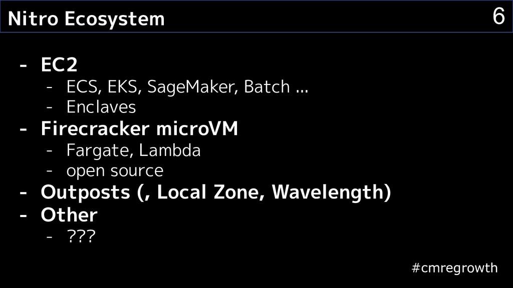 #cmregrowth 6 Nitro Ecosystem - EC2 - ECS, EKS,...
