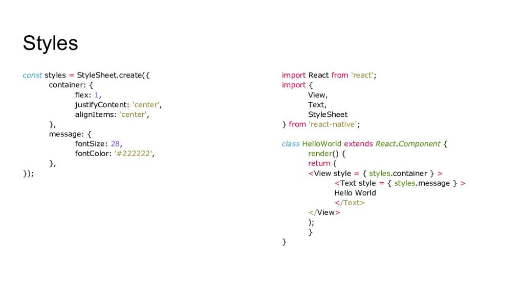 Styles const styles = StyleSheet.create({ conta...