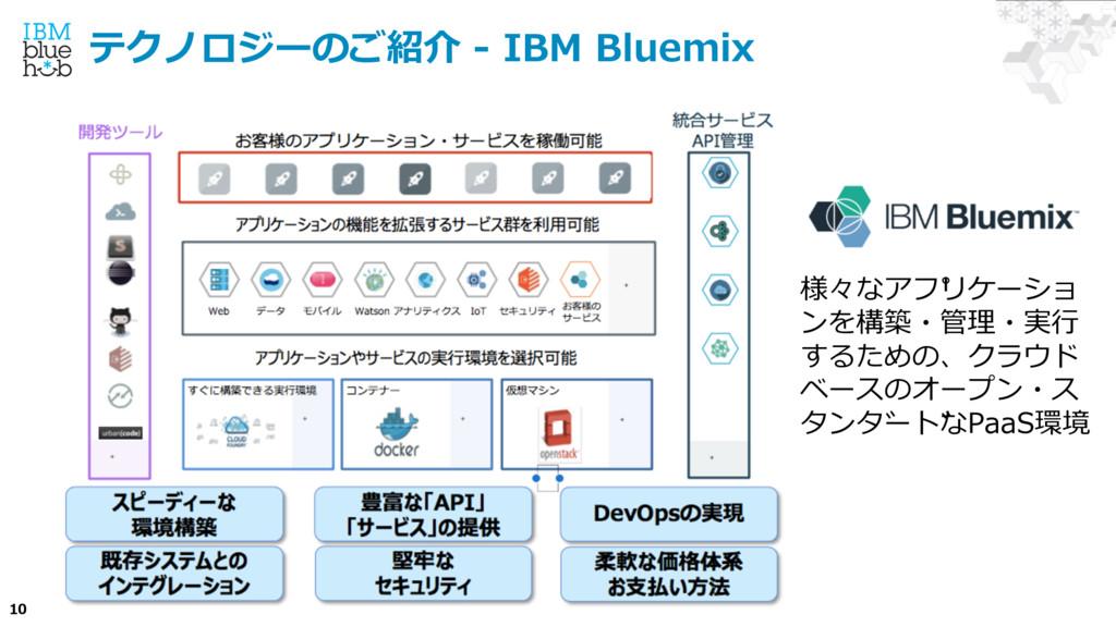 10 テクノロジーのご紹介 - IBM Bluemix 様々なアプ リケーショ ンを構築・管...
