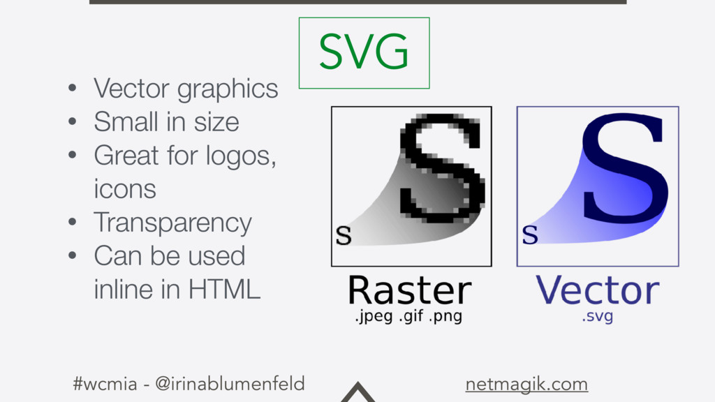 #wcmia - @irinablumenfeld netmagik.com • Vector...