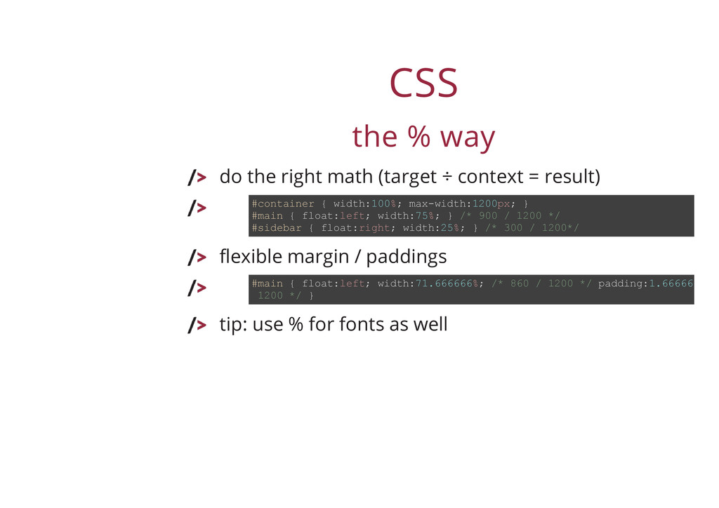 CSS the % way do the right math (target ÷ conte...