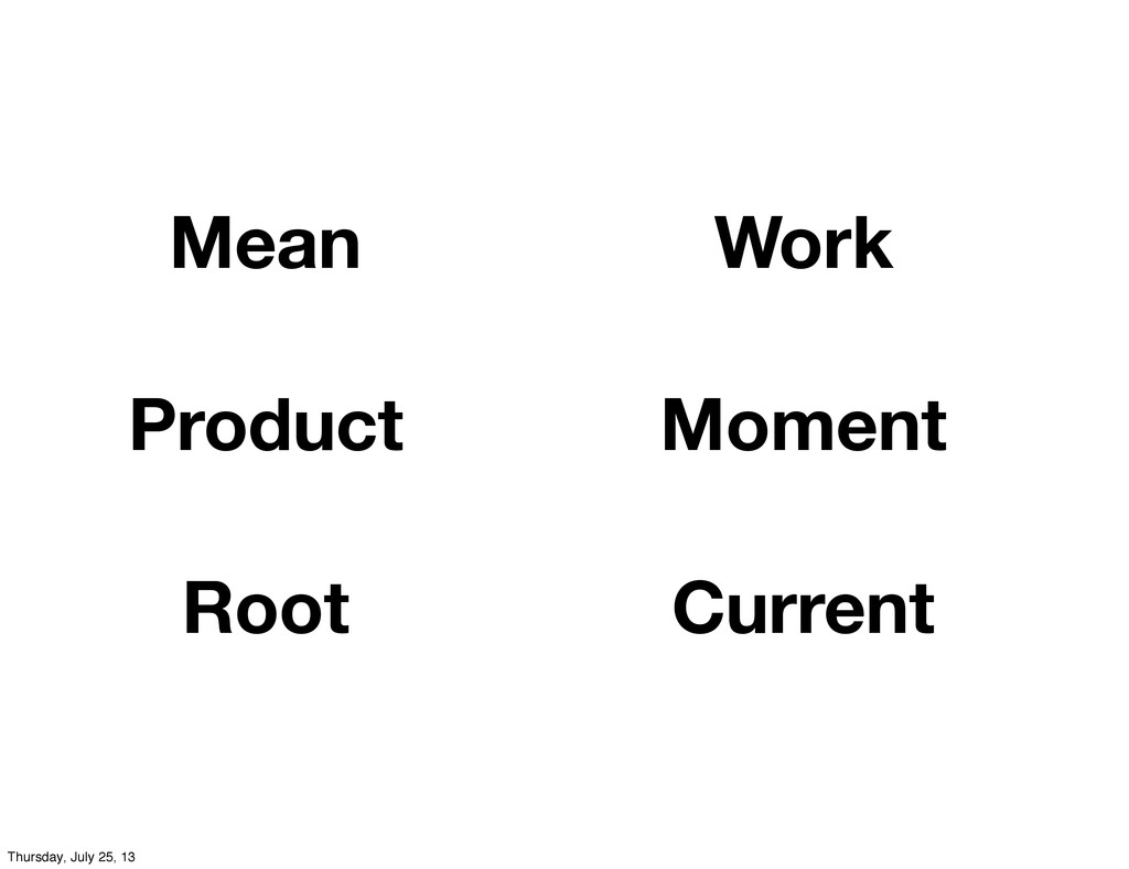 Mean Product Root Work Moment Current Thursday,...