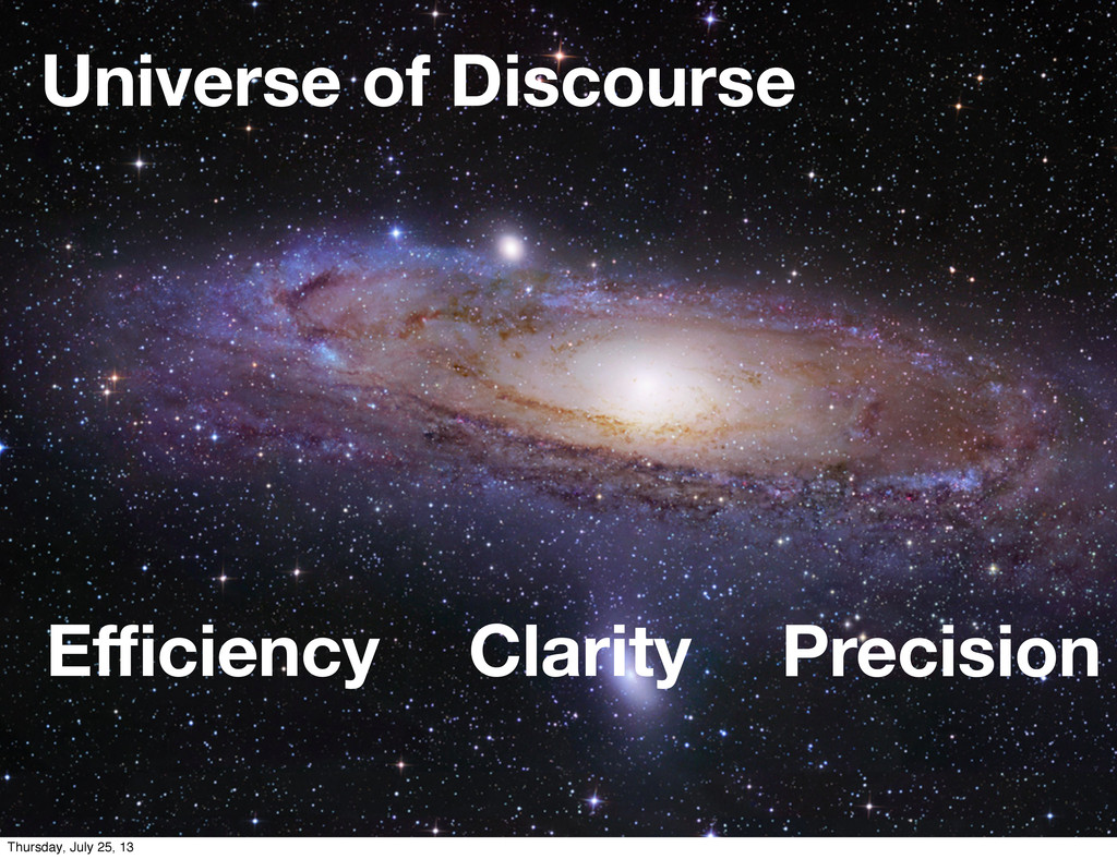 Efficiency Clarity Precision Universe of Discours...
