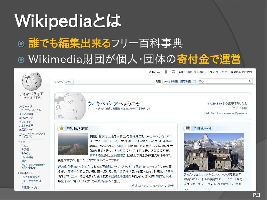 Wikipediaとは  誰でも編集出来るフリー百科事典  Wikimedia財団が個人・...