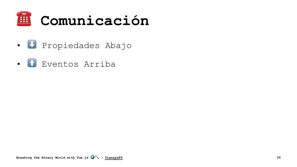 ☎ Comunicación • ⬇ Propiedades Abajo • ⬆ Evento...