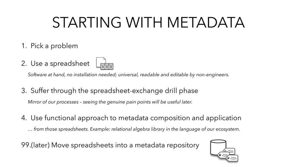 STARTING WITH METADATA 1. Pick a problem 2. Use...