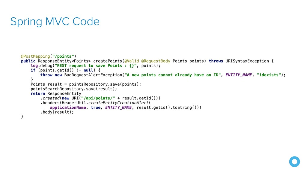 """Spring MVC Code @PostMapping(""""/points"""")   publi..."""