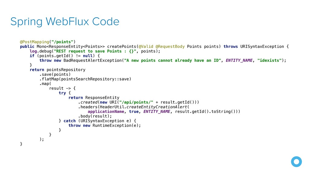 """Spring WebFlux Code @PostMapping(""""/points"""")   p..."""